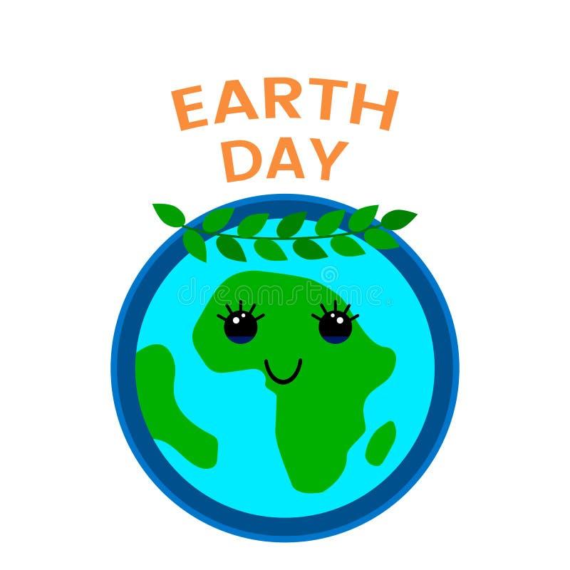 22 aprile è il giorno della terra fumetti divertenti nello stile del fumetto illustrazione piana di vettore sotto forma di emblem illustrazione vettoriale