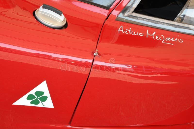 21 aprile 2018: Alfa Romeo Tipo 33/2 di coupé di Daytona al festival 2018 di leggenda del motore a Imola fotografia stock libera da diritti