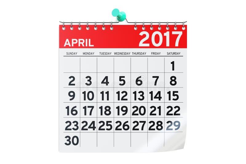 Aprile 2017 calendario, rappresentazione 3D illustrazione di stock