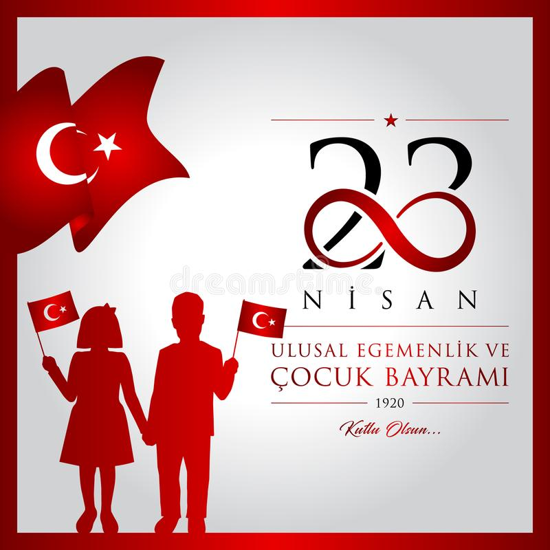 23 aprile, giorno del ` nazionale s dei bambini e della sovranità illustrazione di stock
