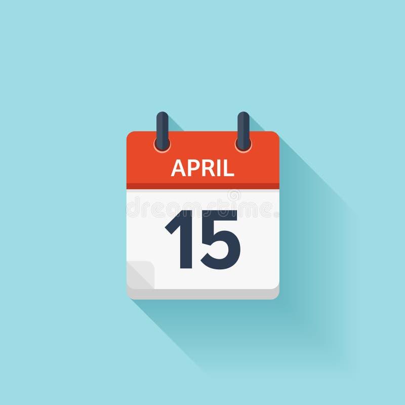 15 aprile Icona piana del calendario quotidiano di vettore Data ed ora, giorno, mese festa illustrazione vettoriale