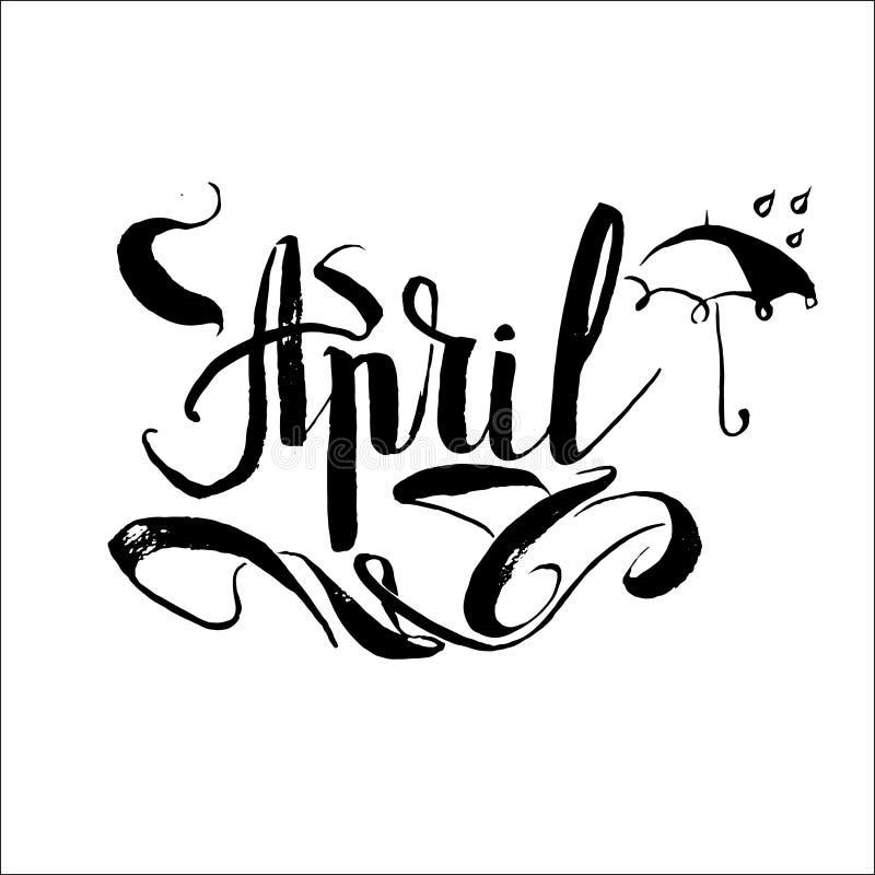 Aprile, iscrizione di vettore dell'ombrello della pioggia illustrazione vettoriale