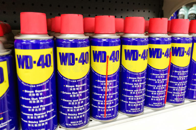 4 aprile 2017, KUALA LUMPUR, MALESIA - WD-40 è il nome di marchio di fabbrica di immagini stock libere da diritti