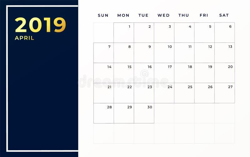 Aprile 2019 modello di programma La settimana comincia sul mese civile vuoto di domenica royalty illustrazione gratis