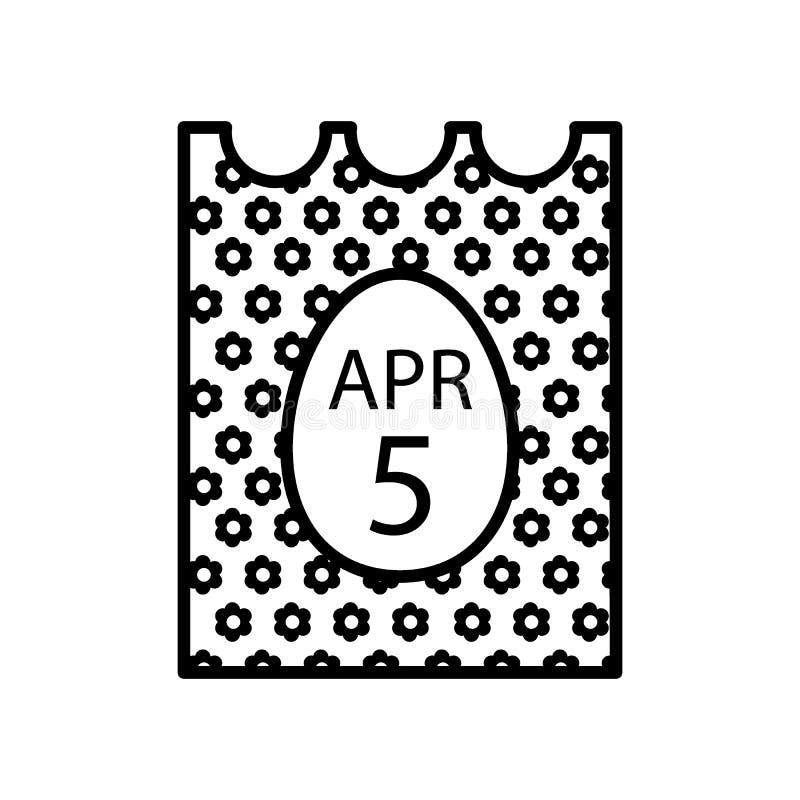 5 aprile 2018 Pasqua cattolica sull'icona di vettore del calendario Illustrazione al tratto semplice e piano Progettazione del pr illustrazione di stock