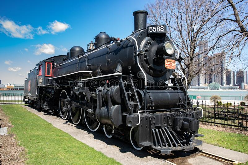 15 aprile 2019 Windsor Ontario Canada Spirit di un motore di 76 locomotive a vapore fotografia stock