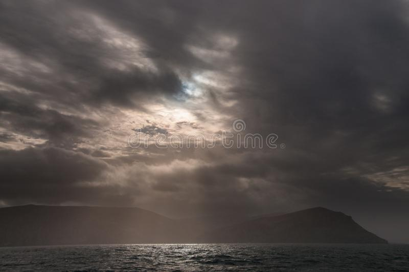 Aproaching de Falkland Eilanden royalty-vrije stock afbeeldingen