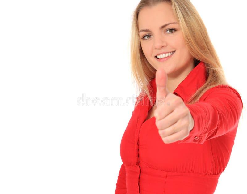 aprobaty atrakcyjna pokazywać kobieta obrazy stock