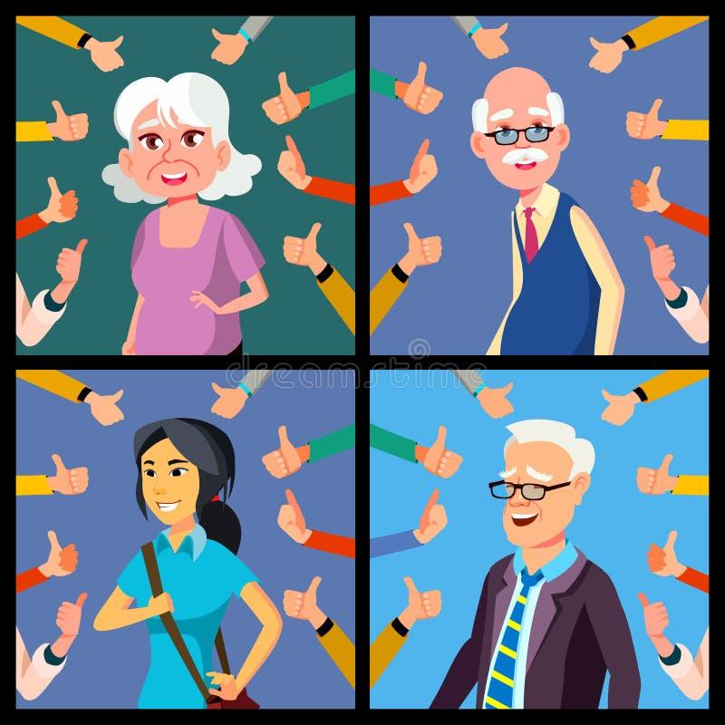 Aprobaty pojęcia wektor ludzie Jawny szacunek, zatwierdzenie Pokazuje zatwierdzenie gest błękitny biznesowego projekta ilustracyj ilustracja wektor