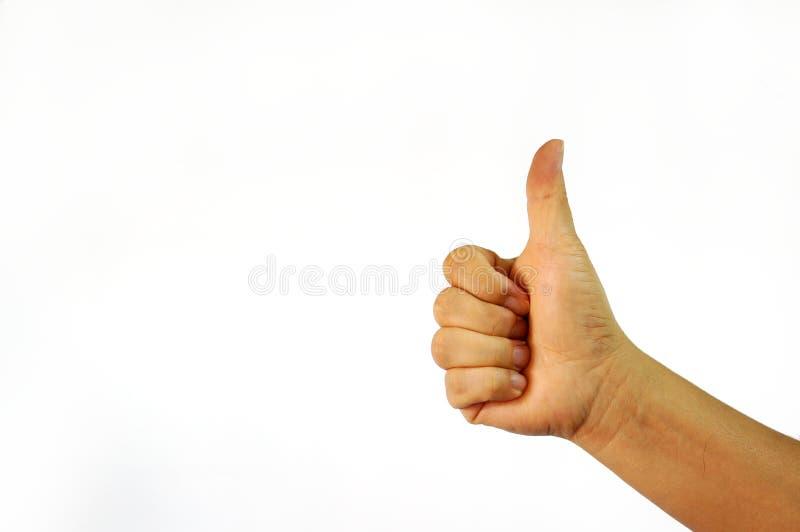 Aprobaty ręki znak na białym tle zdjęcia royalty free