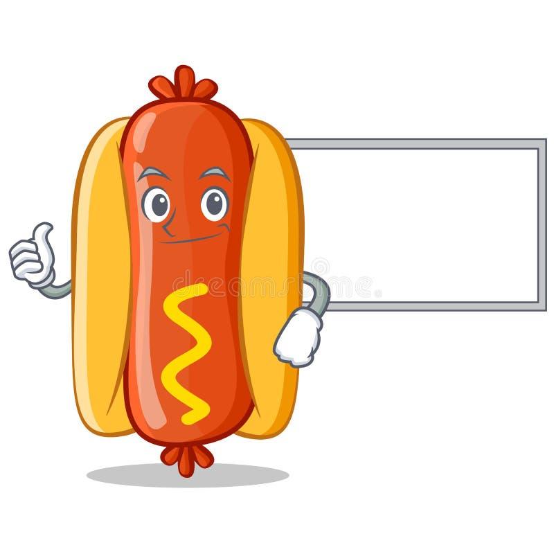 Aprobaty z Deskowym hot dog postać z kreskówki ilustracja wektor