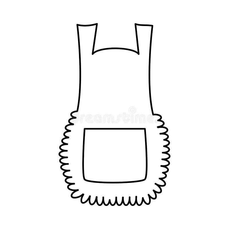 Apron, cartoon pinafore outline isolated on white background royalty free illustration