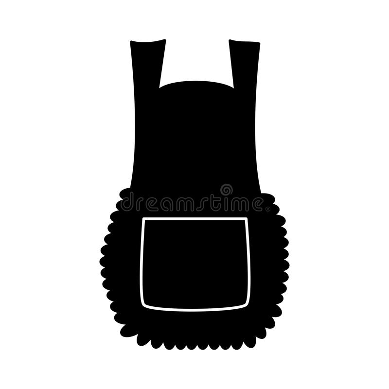 Apron, cartoon pinafore silhouette isolated on white background vector illustration