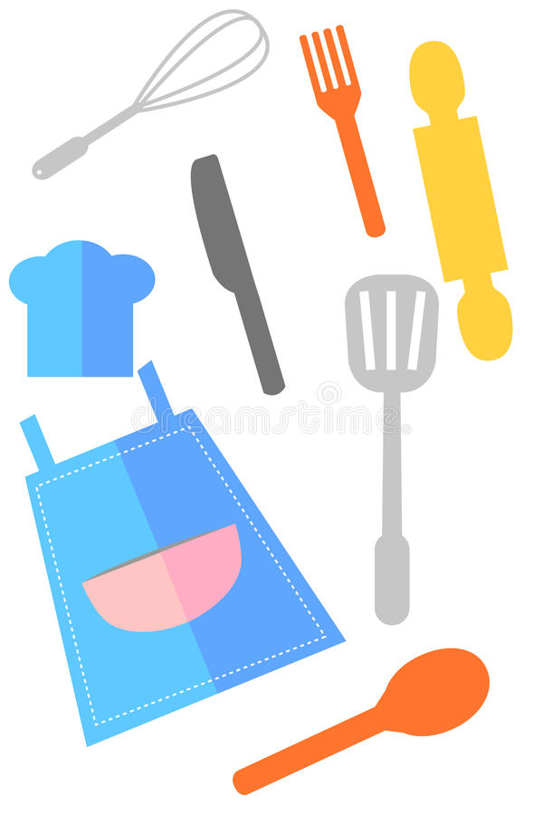 Apron and Cooking Ware, Isolated on White royalty free illustration