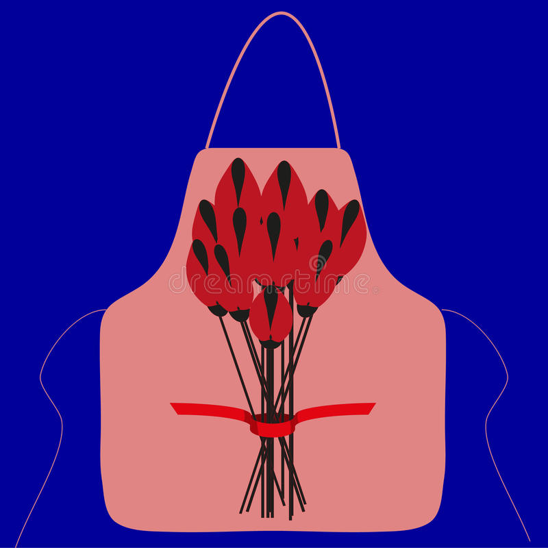 Apron with a picture of a bouquet of flowers stock image
