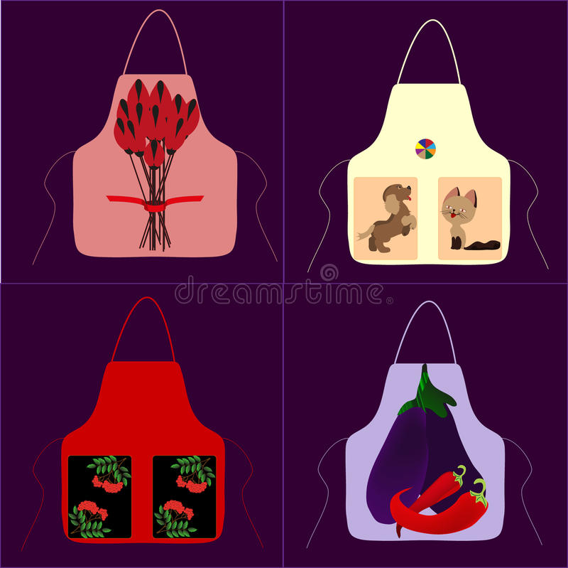 Apron with a picture of cat dog ball royalty free stock photos