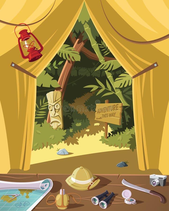 Apronte para a aventura da selva, o equipamento na barraca e a selva no fundo ilustração royalty free