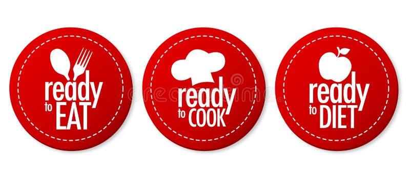 Apronte para comer, fazer dieta e cozinhar etiquetas ilustração stock