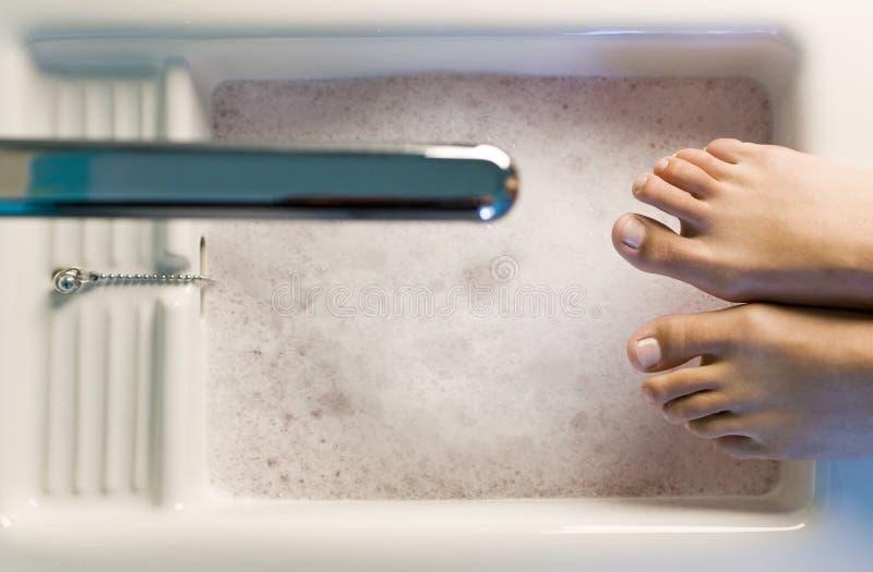 Apronte para o banho do pé imagens de stock