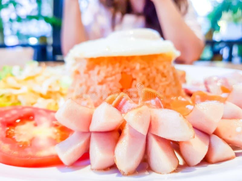 Apronte para o delicioso Grupo americano do café da manhã do estilo, ric fritado fotografia de stock