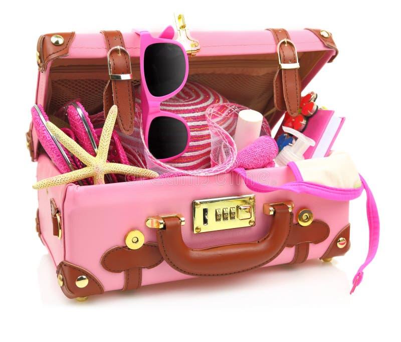 Apronte para viajar mala de viagem cor-de-rosa imagens de stock
