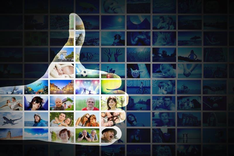 Aprovação, como o gesto Mão na colagem das imagens, fundo das fotos ilustração royalty free