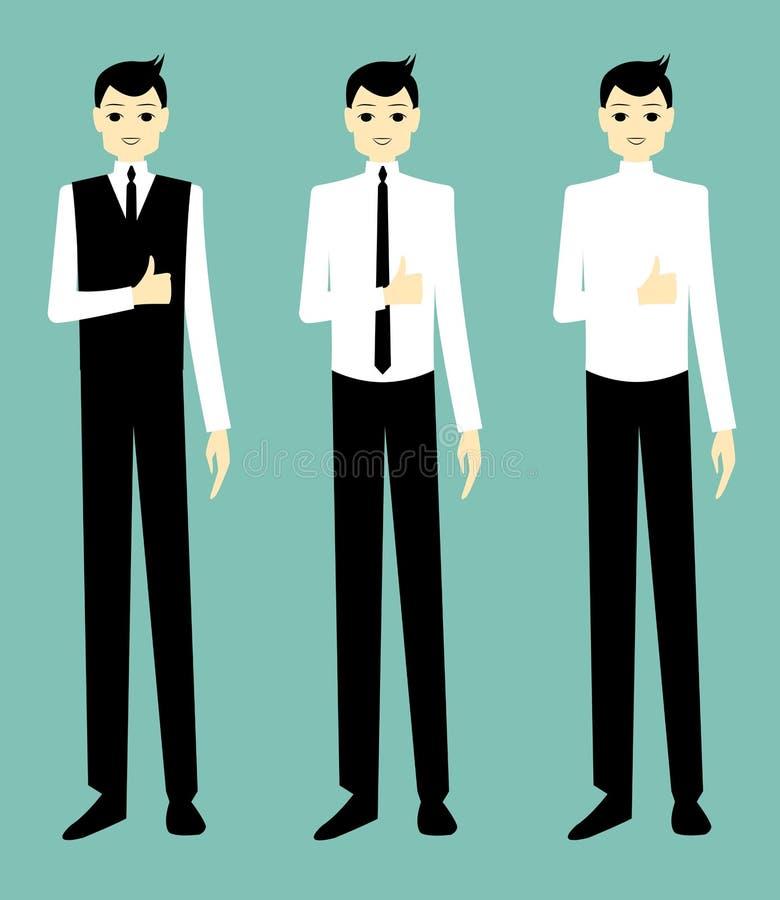 Aprovação considerável do homem de negócios dos desenhos animados foto de stock royalty free