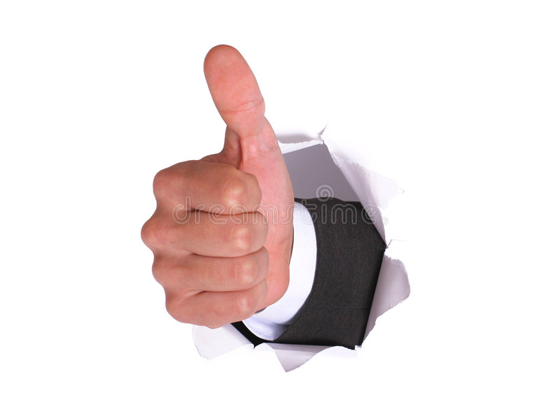 APROVAÇÃO da mão do homem de negócios no whi imagem de stock royalty free