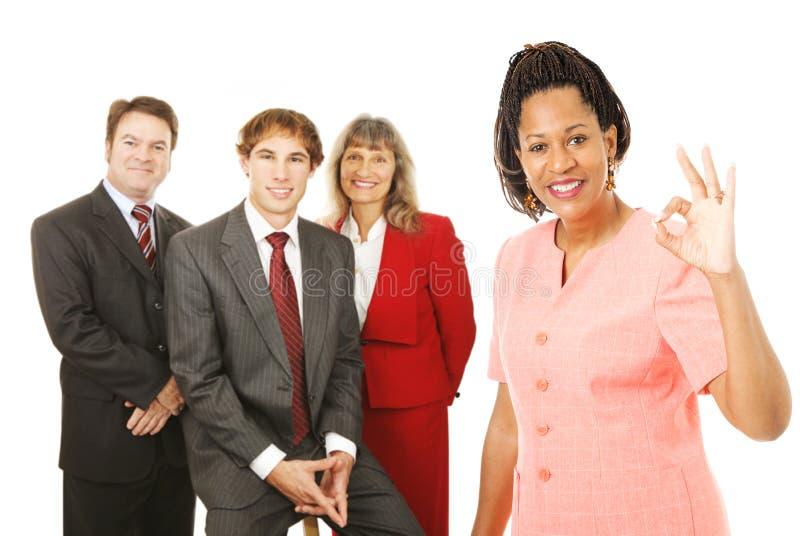 Aprovação do líder da equipa do negócio imagens de stock royalty free