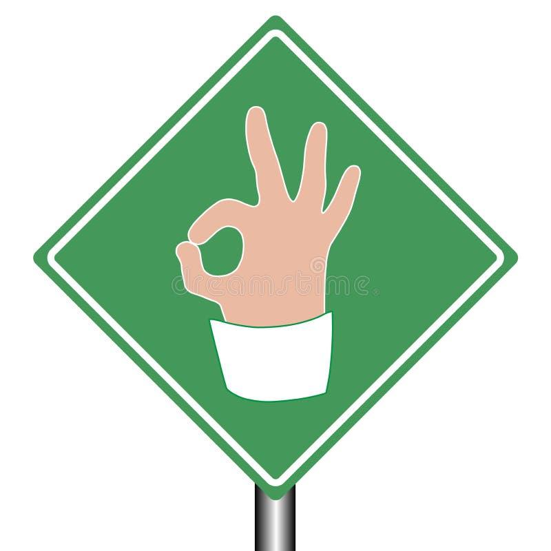 Aprovação do sinal da ajuda da estrada como o gesto de mão ilustração do vetor