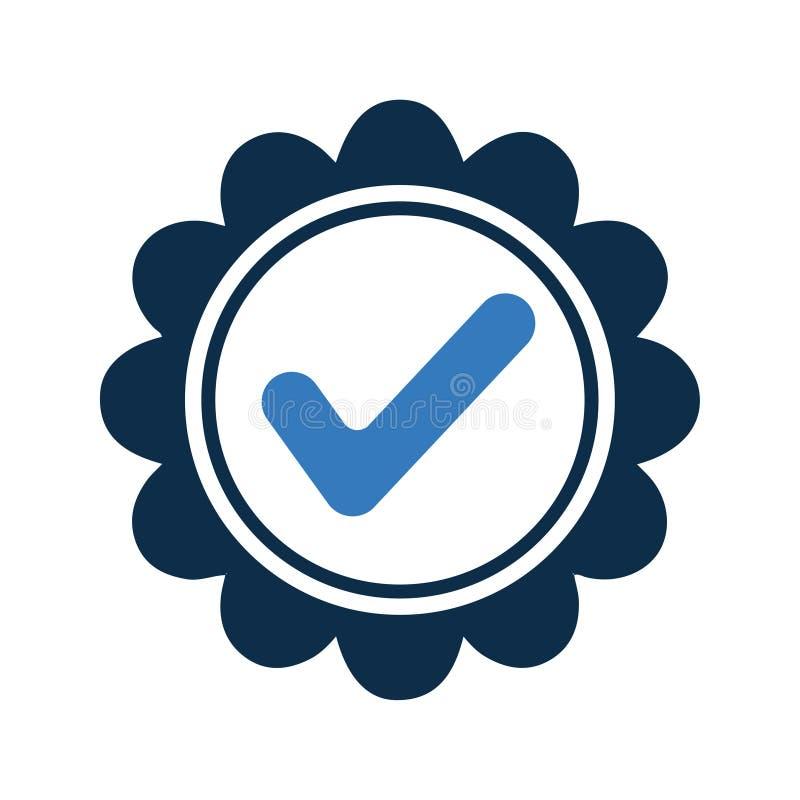 Aprovado, checkedmark, concedido o ícone ilustração stock