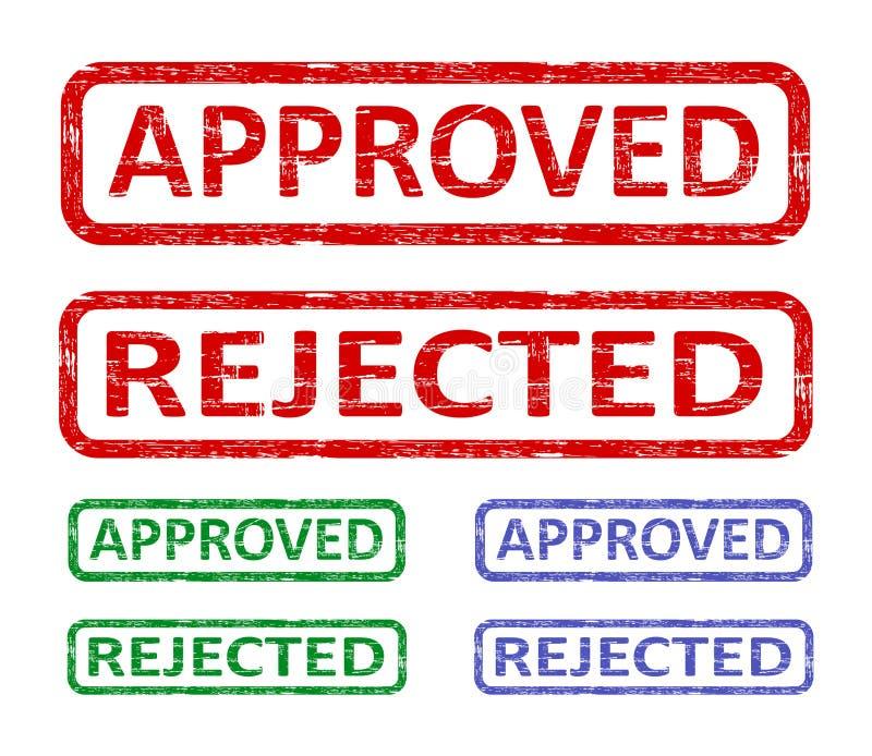 Aprovado e rejeitado ilustração do vetor