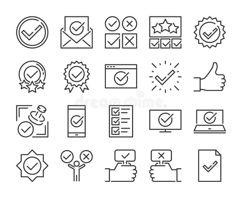 Aprove o ?cone Linha grupo aprovada e de verificação da marca dos ícones Curso edit?vel Pixel perfeito ilustração stock