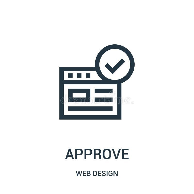 aprove o vetor do ícone da coleção do design web A linha fina aprova a ilustração do vetor do ícone do esboço ilustração royalty free