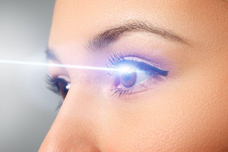 Aproximação oftalmológica da mulher Feixe laser na córnea Conceito de correção da visão laser fotos de stock royalty free