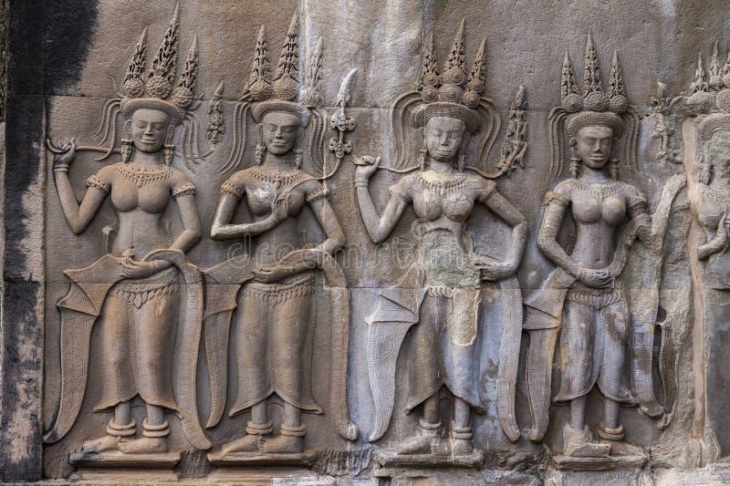 Apsara в Angkor Wat, Камбодже стоковые изображения rf