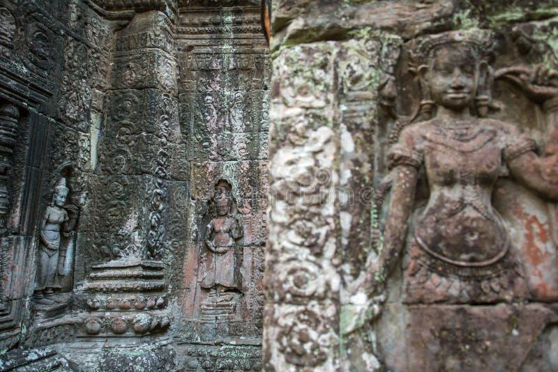 Apsara, каменное резное изображение на стене виска Prohm животиков Angkor стоковые фото