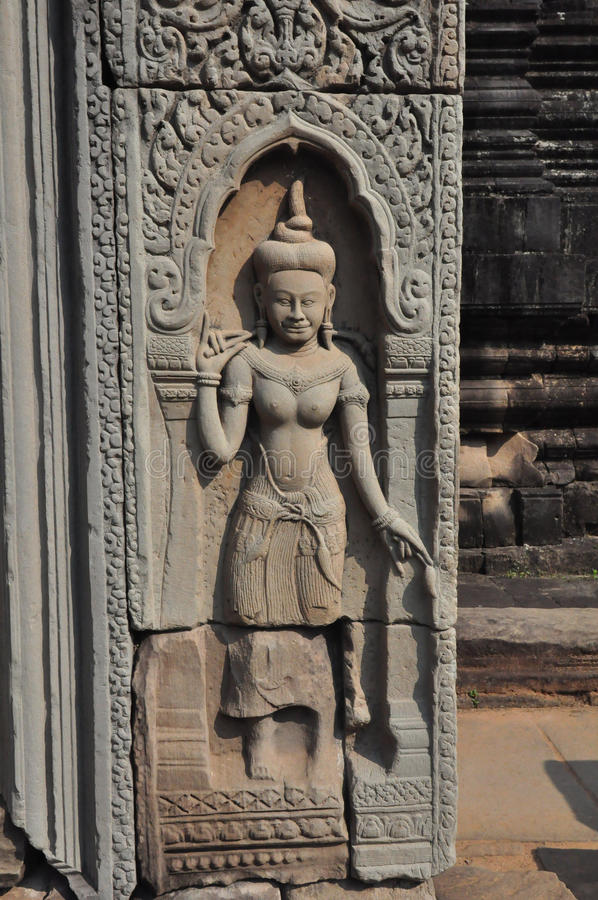 Apsara av den Baphuon templet, Angkor Thom City, Cambodja. arkivbilder