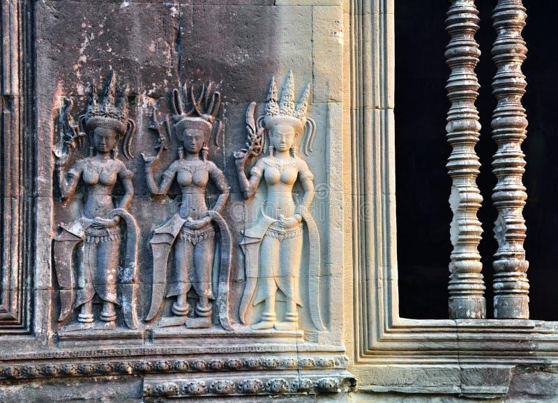 Apsara bas hulp in Angkor Wat royalty-vrije stock foto