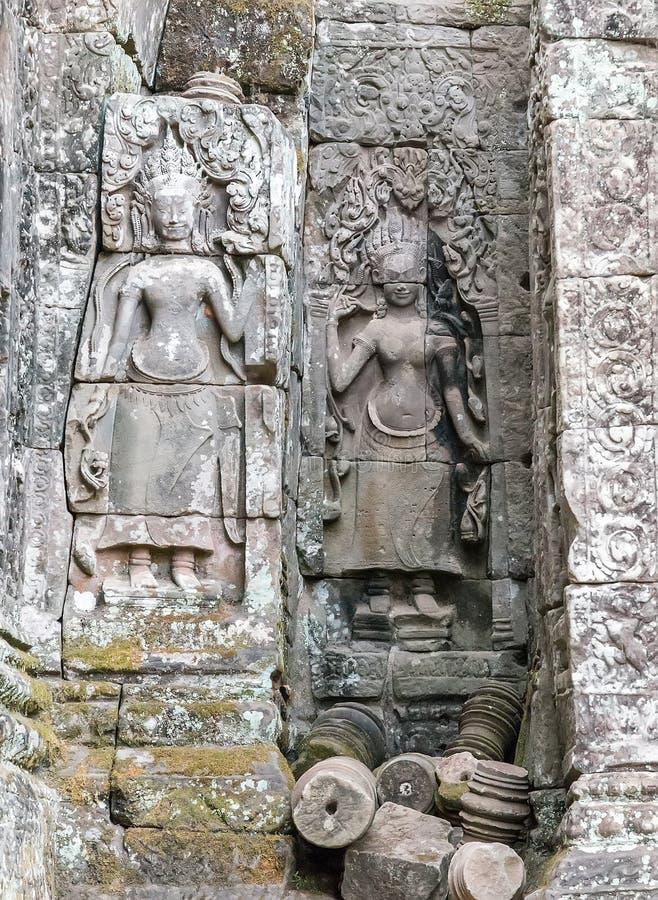Apsara Bayon tempel Angkor, Cambodja royaltyfri bild