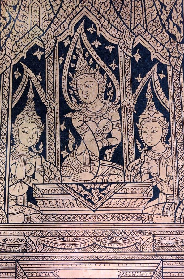 Apsara Boeddhistische Muurschildering stock afbeeldingen