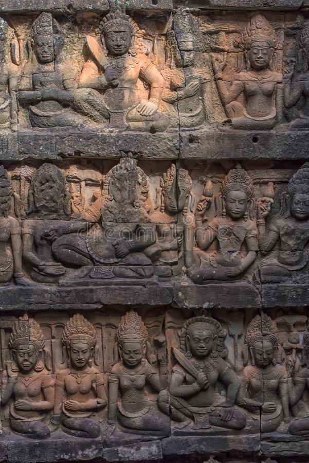 Apsara carved on the wall of the Elephant terrace, Angkor Thom. royalty free stock images
