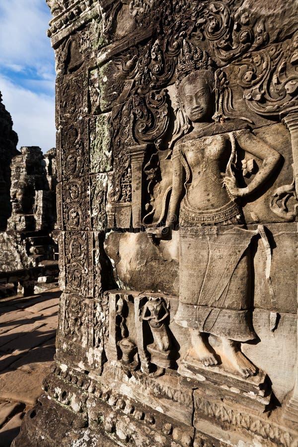 Apsara Dancer Wall Carving Stock Photos