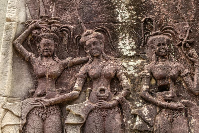 The Apsara dancing on the wall royalty free stock photography