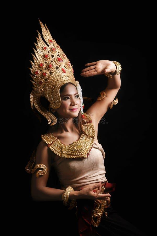Apsara het dansen portret stock afbeelding