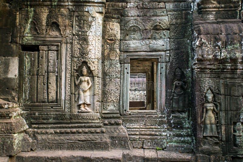 Apsara, kamienni cyzelowania na ścianie Angkor Ta Prohm obraz royalty free