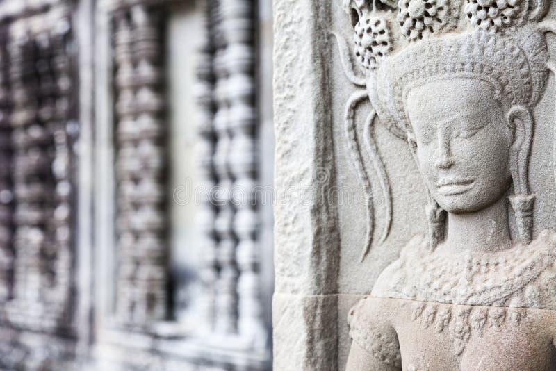 Apsara lättnad i Angkor Wat royaltyfri foto
