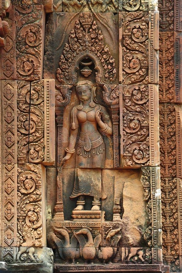 Apsara van Kambodja Angkor Banteay Srey stock foto