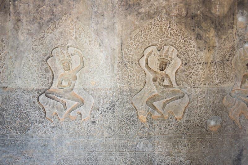 Apsaragravures in Angkor Wat royalty-vrije stock fotografie