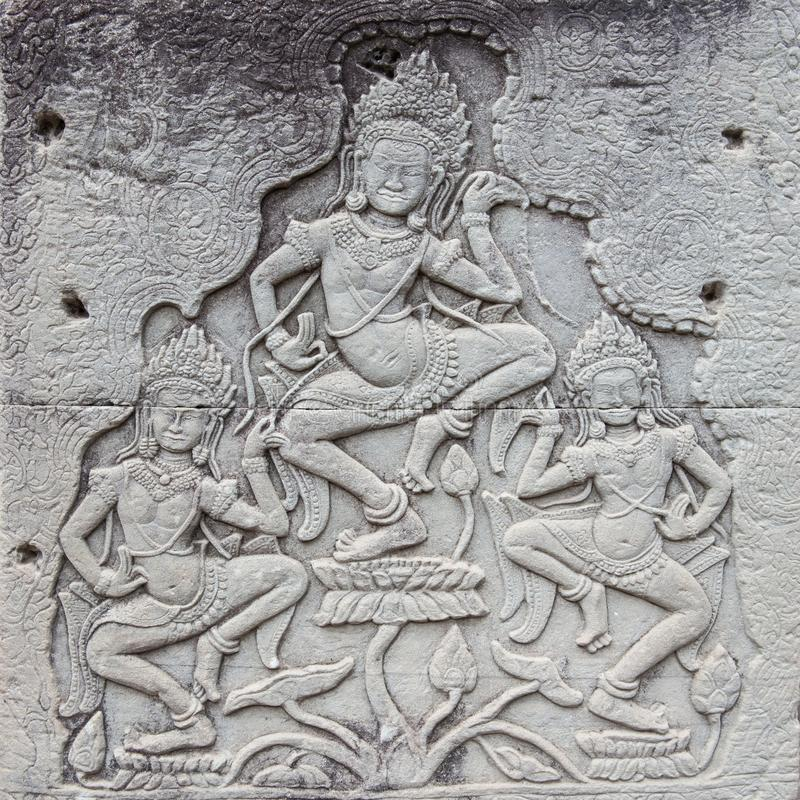 Apsaras i Angkor Thom, Cambodja royaltyfri foto